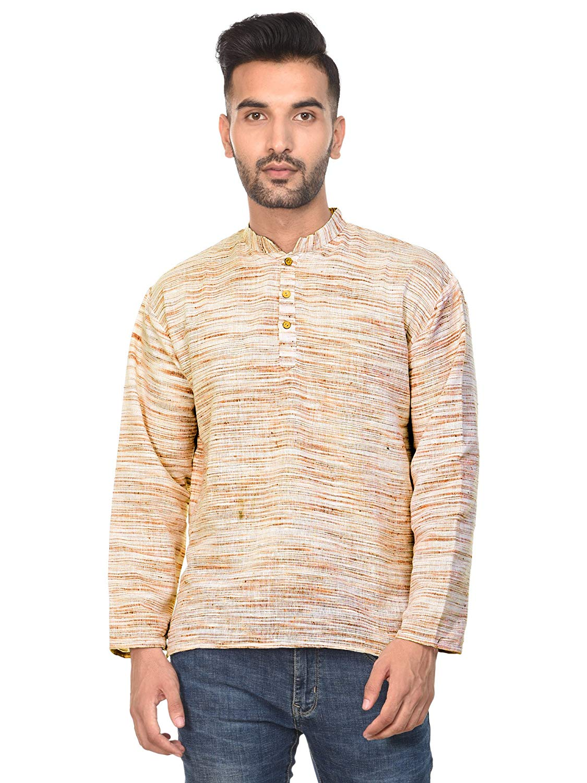 bd91632f05 Get Quotations · SKAVIJ Mens T- Shirt Kurta Long Sleeve Casual Button Down Cotton  Tunic Kurta Dress