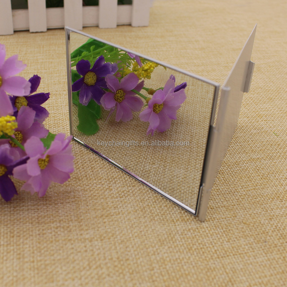 Custom rectangular folding plastic square decorative pocket makeup mirror