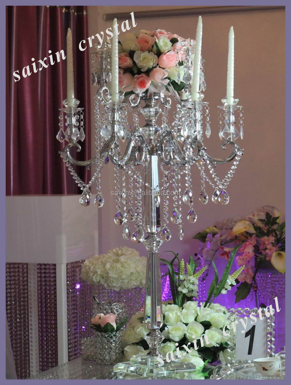 New bling crystal flower candle holders wedding table for Buy wedding centerpieces