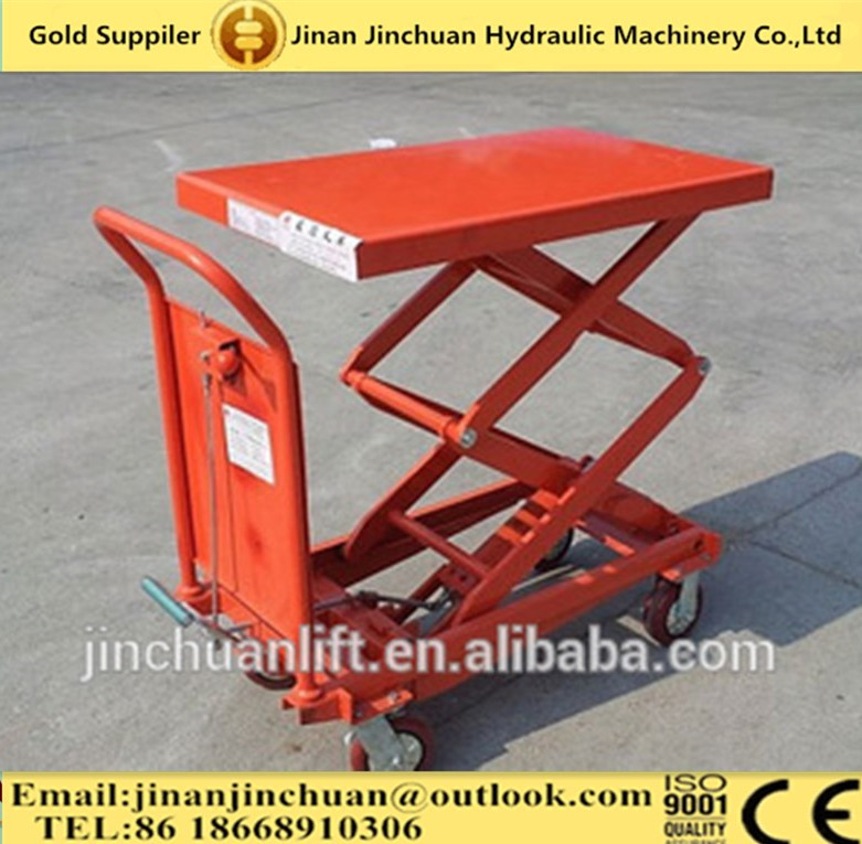 electric double scissor lift table/electric table truck/mini scissor lift table