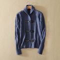 Women s pure cashmere knitted three buttons cardigan sweater with turn down collar solid color long