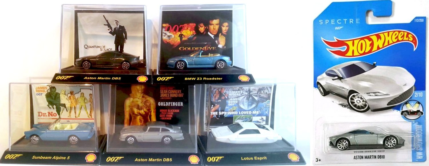 Spectre James Bond Exclusive Hot Wheels Set Aston Martin DB10 2016 Daniel Craig + Shell Special Die-Cast Cars Goldfinger, Quantum of Solace, Goldeneye, Dr. No, Spy who Loved me Aston Martin DB5, lotus