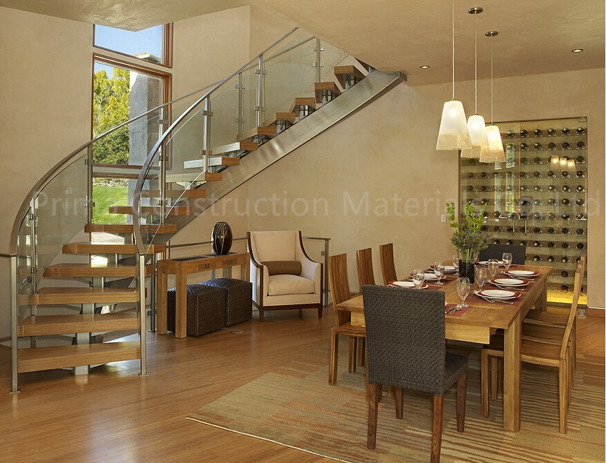 Circular stairs spiral stair with curved glass railing for Kitchen dining hall design