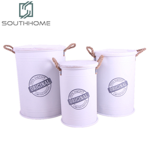 Customized Round Metal Trunk Storage Stool Storage Bucket with handle