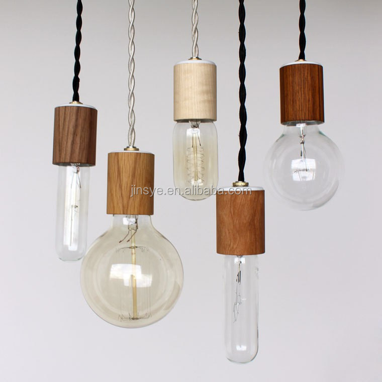 Wooden Lampholder Ceiling Light With Cord