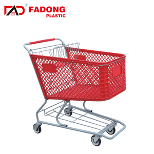 Plastic hand push cart with metal stand