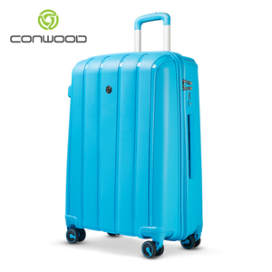Branded PP material custom made cheap trolley luggage with boarding pass