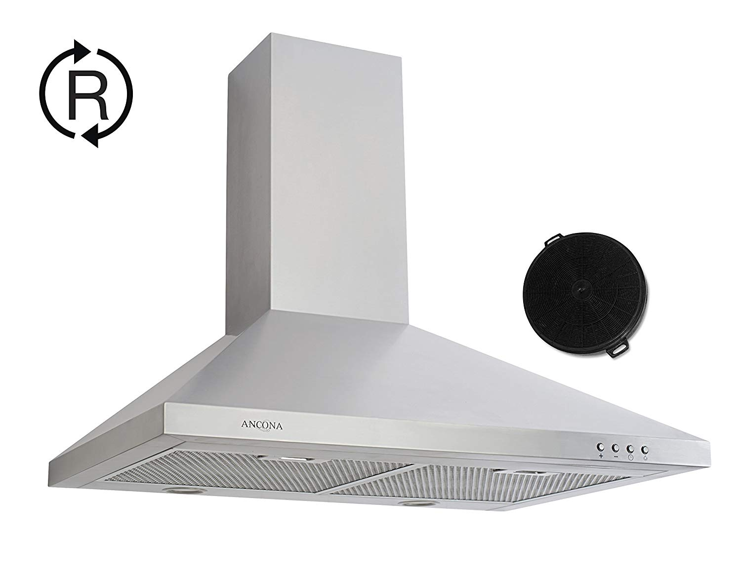 Ancona AN-6116R 30 in. WPP530 Wall Pyramid LED Range Hood in Stainless Steel and Carbon Filters for Recirculation, Medium-Big, Silver (Stainless Steel), 2 Piece