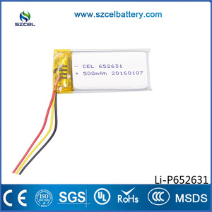 ShenZhen CEL Lithium Polymer Battery-Lipo manufacturer rectangular quick charge & discharge 3.7V led light battery 652631