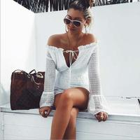 K2703A 2017 Latest Fashion Bodysuits Sexy Lace up Off Shoulder Long Sleeve Bodysuits For Women
