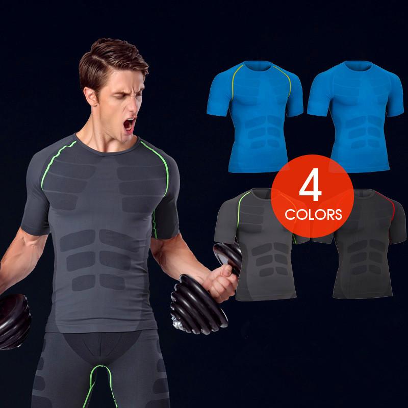 Men's Quick Dry Short Sleeve T-shirt Running Fitness Shirts 2