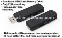 Retractable recharging and recording USB voice recorder device