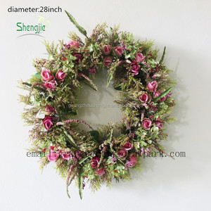 China artificial christmas flower rose bud wreath artificial flowers for wreaths artificial boxwood flower wreath wholesale