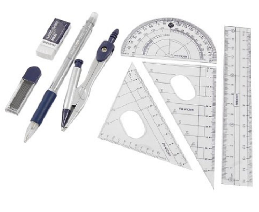 Homespun Set 8 In 1 Protractor Compass 15 Cm Straight Ruler Set With Case Measurement Office School Tools Layout Design