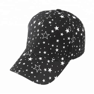 Wholesale Cheap New Fashion Black White 6 panel Curved Brim Printed Star Baseball Caps Hard Hats Women Girls
