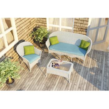 Unique Terrace Garden Used White Plastic Wicker Sofa Set Wintech