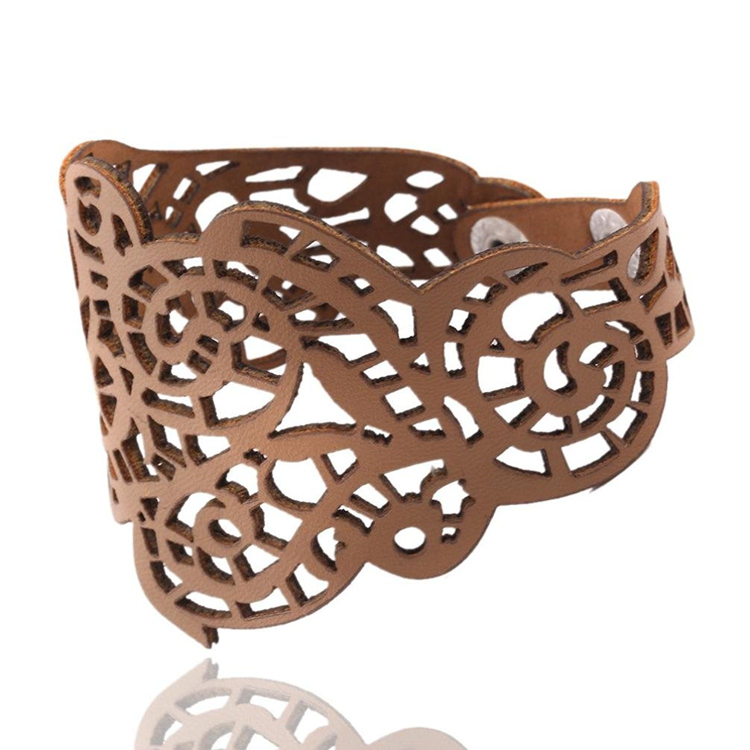 DondPO Vintage Women Punk Style Hollow Out Flower Artificial Leather Wide Bangle Cuff Leather Bracelet