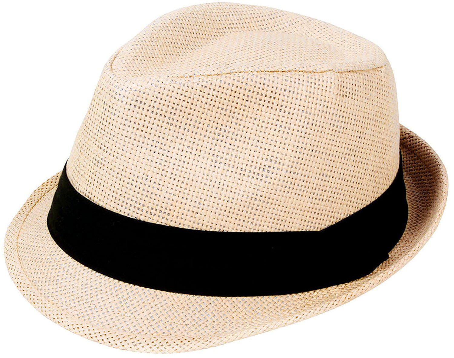 851cc41f0aa Get Quotations · Simplicity Unisex Summer Cool Woven Straw Fedora Hat    Stylish Hat Band