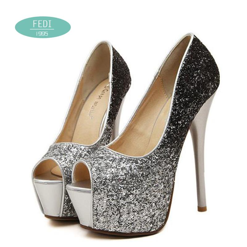 18038befe66b Get Quotations · Women Heels 2015 Silvery Gold peep toe Women Pumps  Platform High Heels Sexy Wedding Shoes