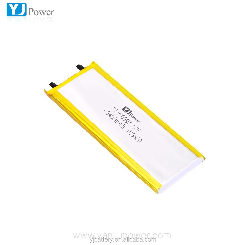 Rechargeable high capacity YJ803897 3.7v 3400mah lithium polymer battery 3400mah li-ion battery YJ803897 cell phone battery