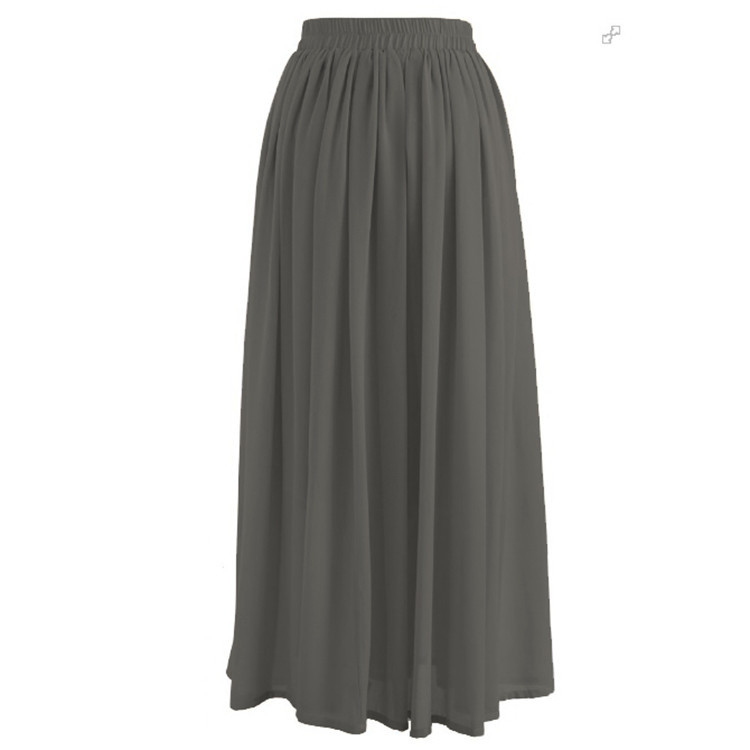 2019 Hot Sale Pleated chiffon 9Colors Muslim  Skirts  Long Skirts for Young Women
