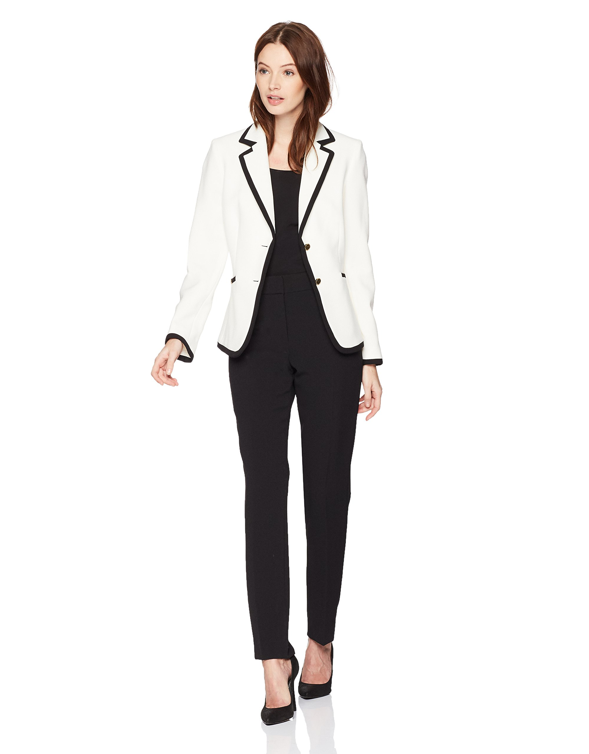 790dc141fffe5 Get Quotations · Tahari by Arthur S. Levine Women's Pebble Crepe Long  Sleeve Pant Suit With Framing Detail