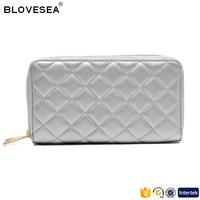 Classic trendy style diamond lattice stitching double zipper silver ladies PU leather wallet