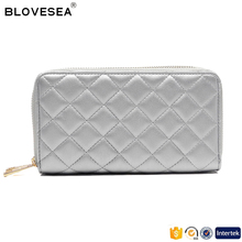 Classic trendy style diamond lattice stitching double zipper silver ladies PU leather wallet