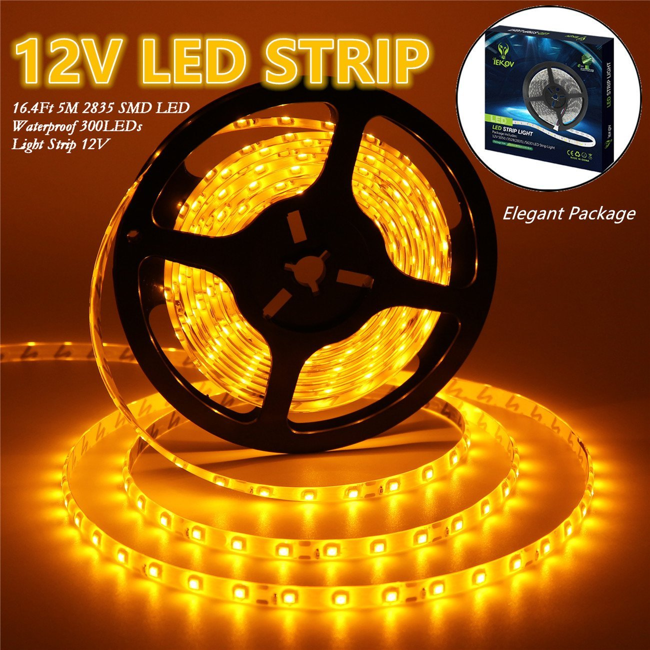 IEKOV Led Strip Lights, trade; 2835 SMD 300LEDs Waterproof Flexible Xmas Decorative Lighting Strips, LED Tape, 5M 16.4Ft DC12V, 2 times brightness than SMD 3528 LED Light Strip (Yellow)