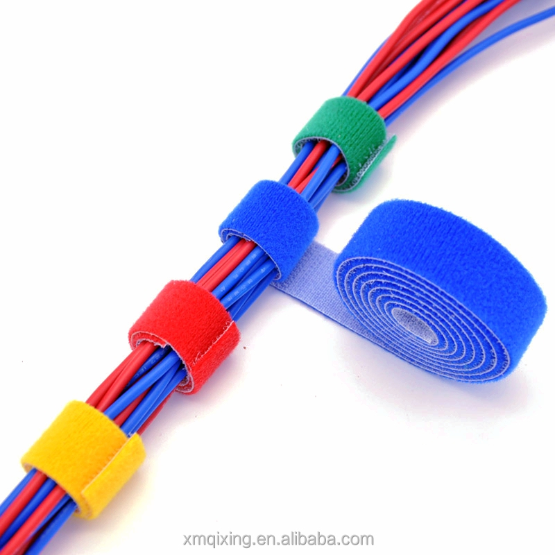 Continuous hook and loop one wrap ties for cables
