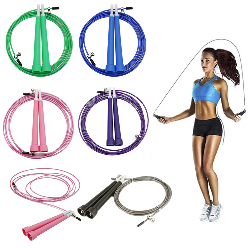 Premium aluminium handle speed skipping rope with 3m clear coated steel wire