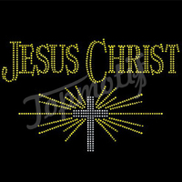 Jesus Cross Rhinestone Heat Press T Shirt Transfers