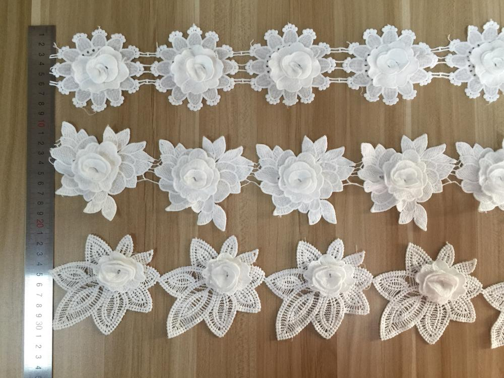 2019 Spring milky bridal lace trim,chemical polyester nylon material flower 3d lace trimming