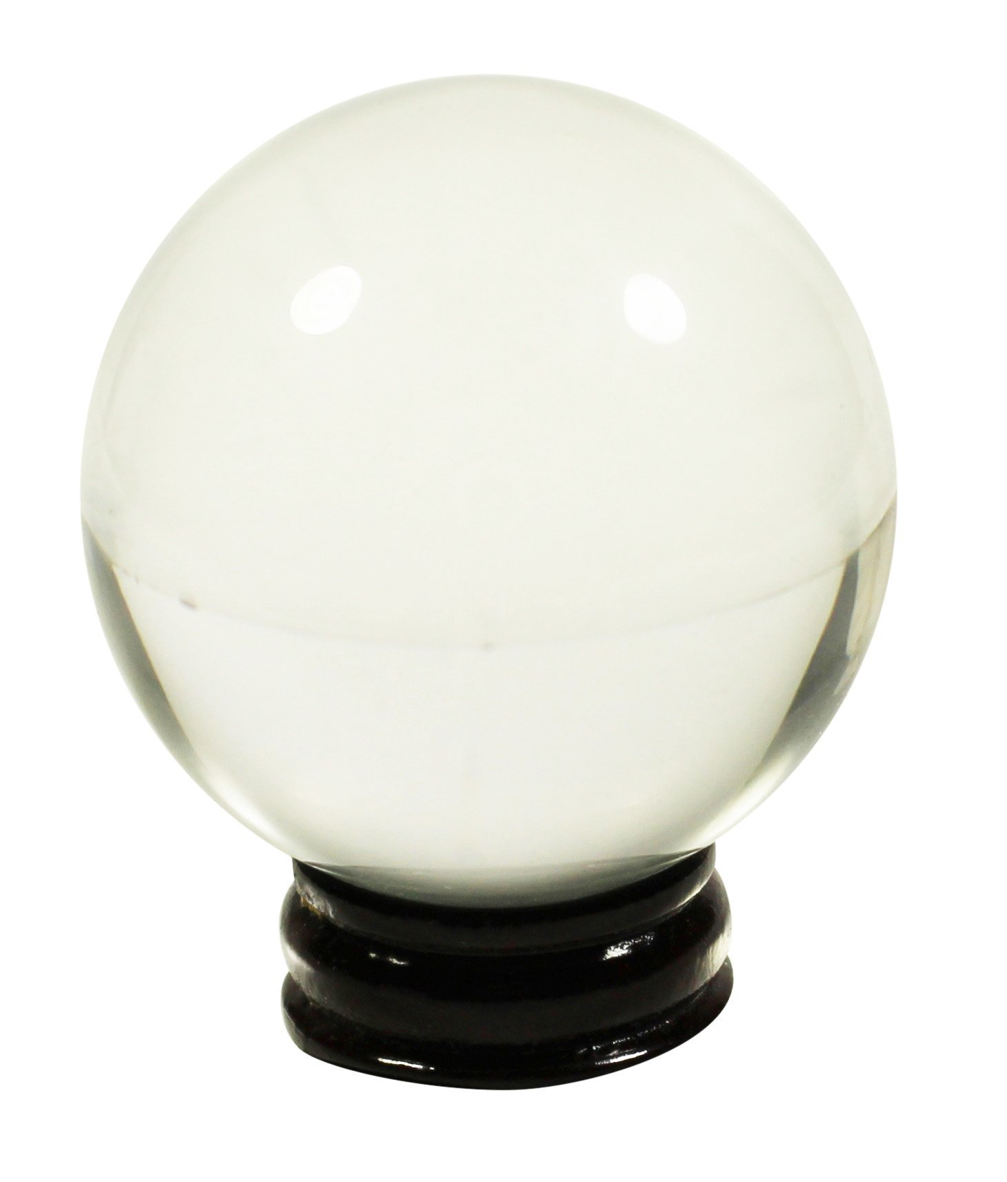 45mm Flawless Clear Crystal Ball Sphere + 2 Display Stands, 1 Wooden 1 Acrylic Gazing Scrying Ball