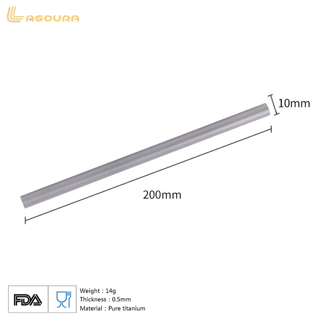 Pure Titanium Portable Thick Straw Stir Stick Drink Straws