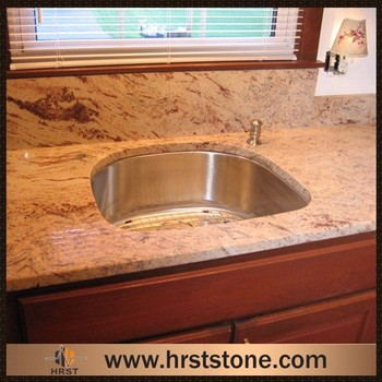 Shivakashi Rose Granite Molded Sink Countertop For Kitchen