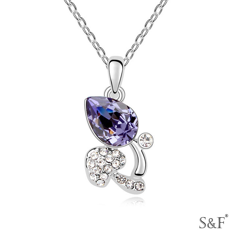 14548 Lead free crystal nugget necklace