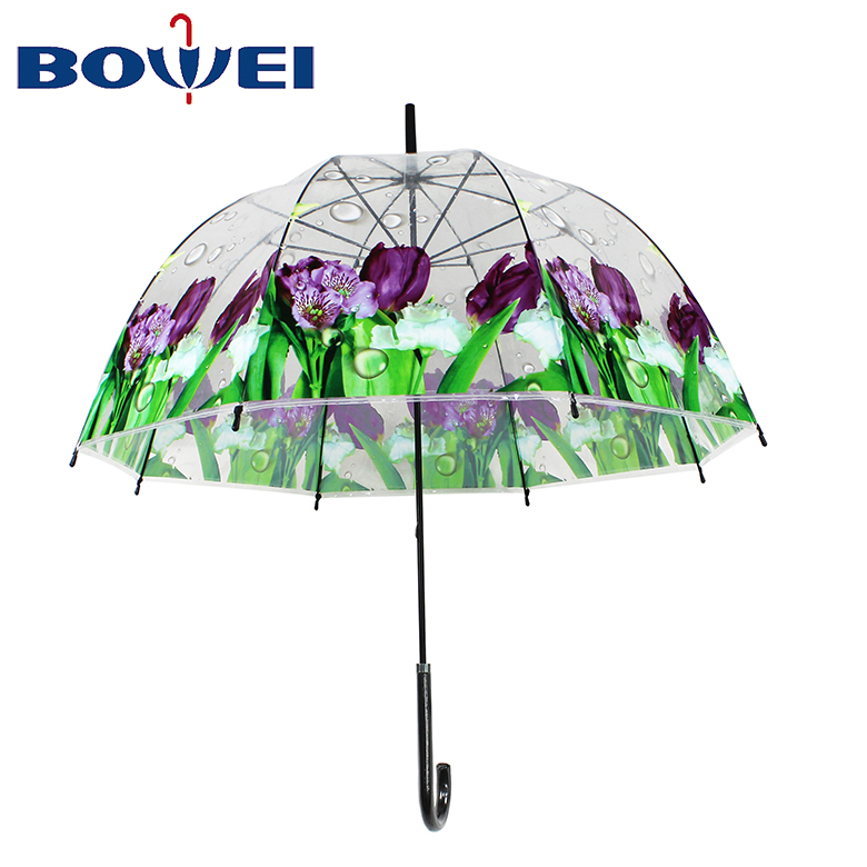Apollo promotional creative custom flower printed  clear  transparent POE dome  wedding  umbrella for sale