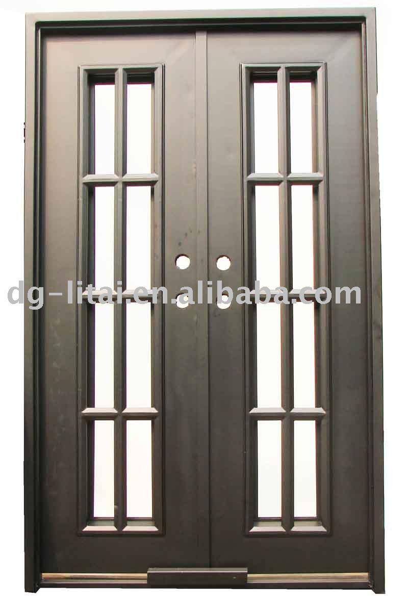 Dise o de hierro forjado puertas dobles puertas for Puertas de metal con vidrio modernas