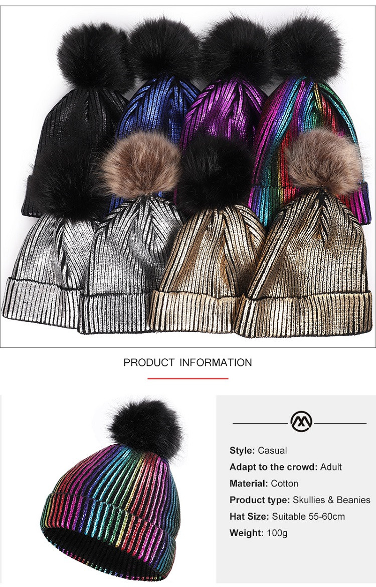 Women Winter pom pom hat bright knitted beanie