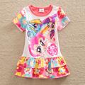 New ma bao li girl summer dress printing short sleeved cotton children dress clothes round collar