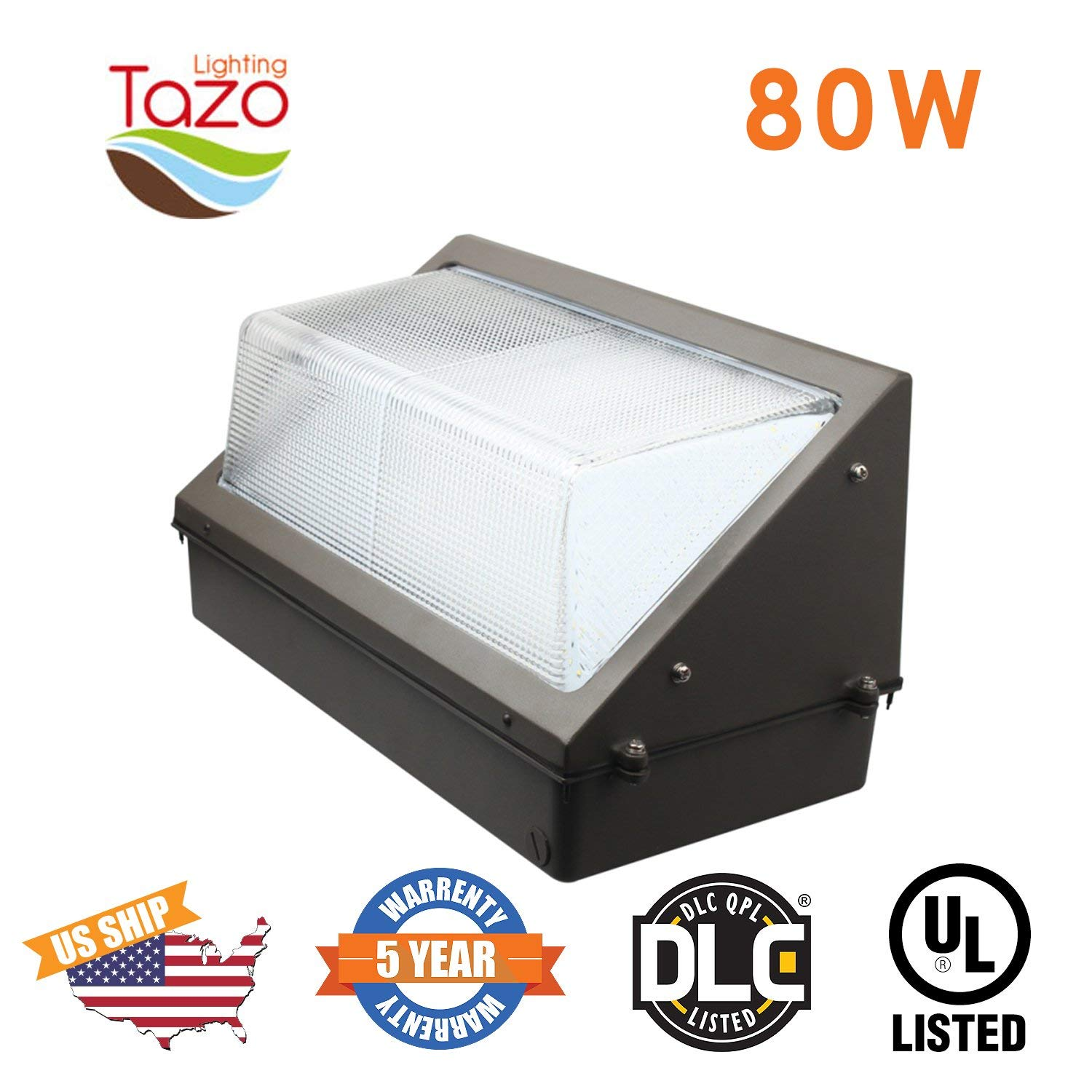 TAZO LIGHTING 80W LED Wall Pack Light, 2700-7000K LED Security Lighting Fixture, 6400-7200 Lumens(200-300W MH/HPS Equivalent), IP65 Outdoor Industrial and Commercial Aare Lighting (UL-Listed)