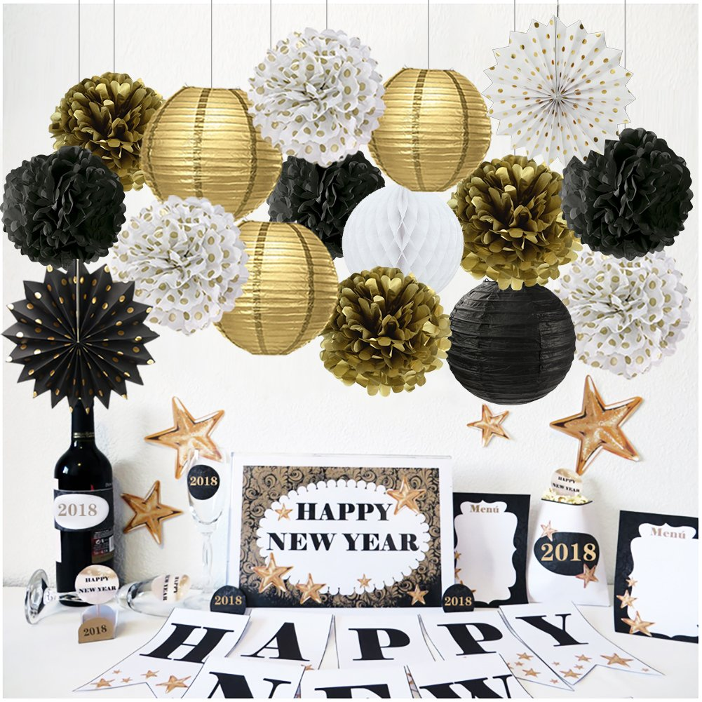 Get Quotations New Year Party Decoration Gold Polka Dot Tissue Paper Fans Black White Pom