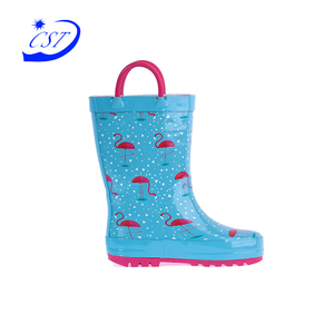 Top grade economic umbrella flower printed high quality kids rubber rain boots