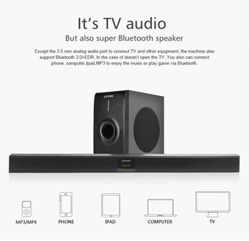 Large Power 20CH 80W Bluetooth Tv Soundbar With Built In Subwoofer For Home Theater Sound