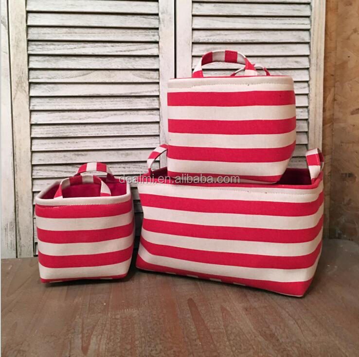 DEMIZXX796 Wholesale Basket Set Canvas Material Different Size Striped Color Square Shape Free Shipping Soft Storage Tote
