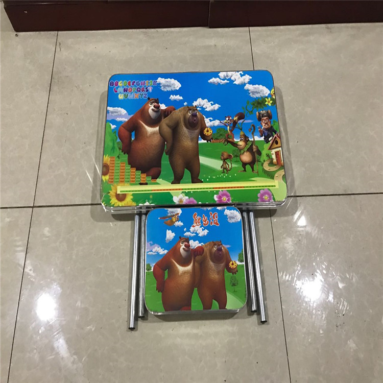 Promotional portable kids folding study table and stool set