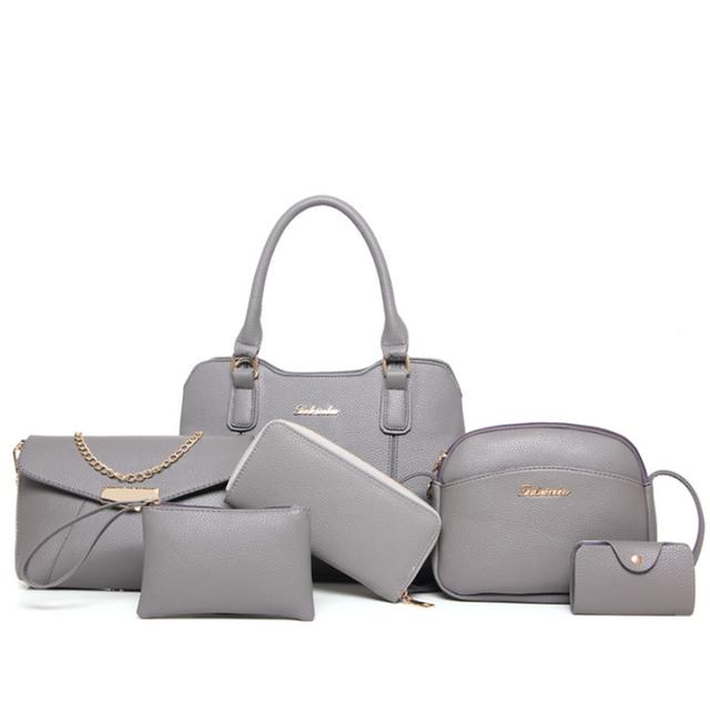 bf5f9b4abdab Fashion Tote Women PU Cheap Handbags 2016 handbag 6 pieces in 1 woman set  bag