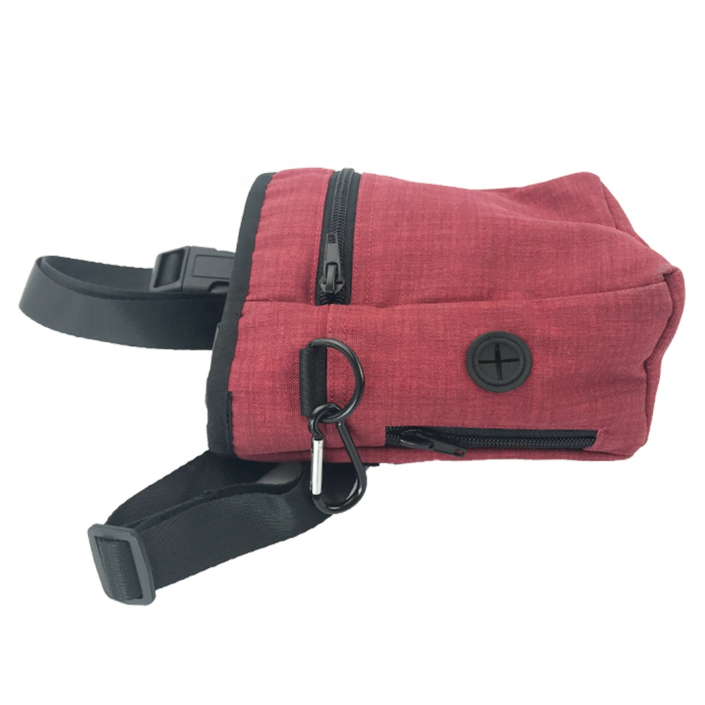 High Quality Red Waterproof Oxford Pet Tote Feed Foldable Person Treat Dog Walking Bag