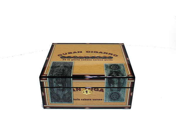 Newest Luxury Piano Lacquer Custom Wood Grain Cigar Box For 5 Counts Cigars
